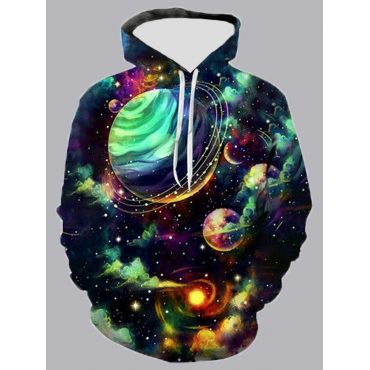 Lovely Casual Hooded Collar Starry Sky Print Multi