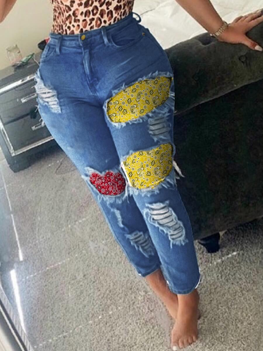 LW Lovely Street Patchwork Blue Jeans