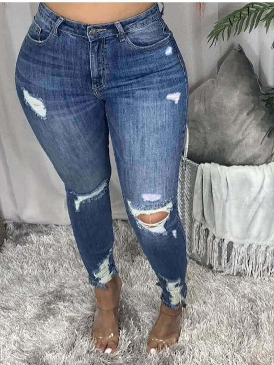 Lovely Street Hollow-out Skinny Deep Blue Jeans
