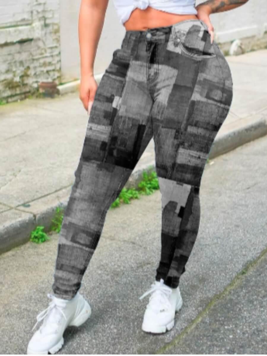 LW Lovely Trendy Print Skinny Grey Pants