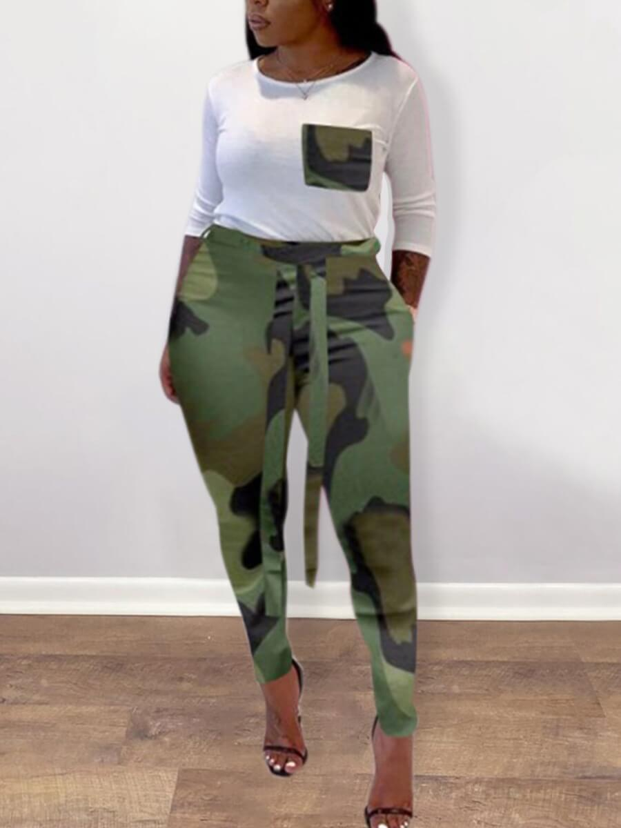 Lovely Casual O Neck Pocket Patched Camo Print Arm