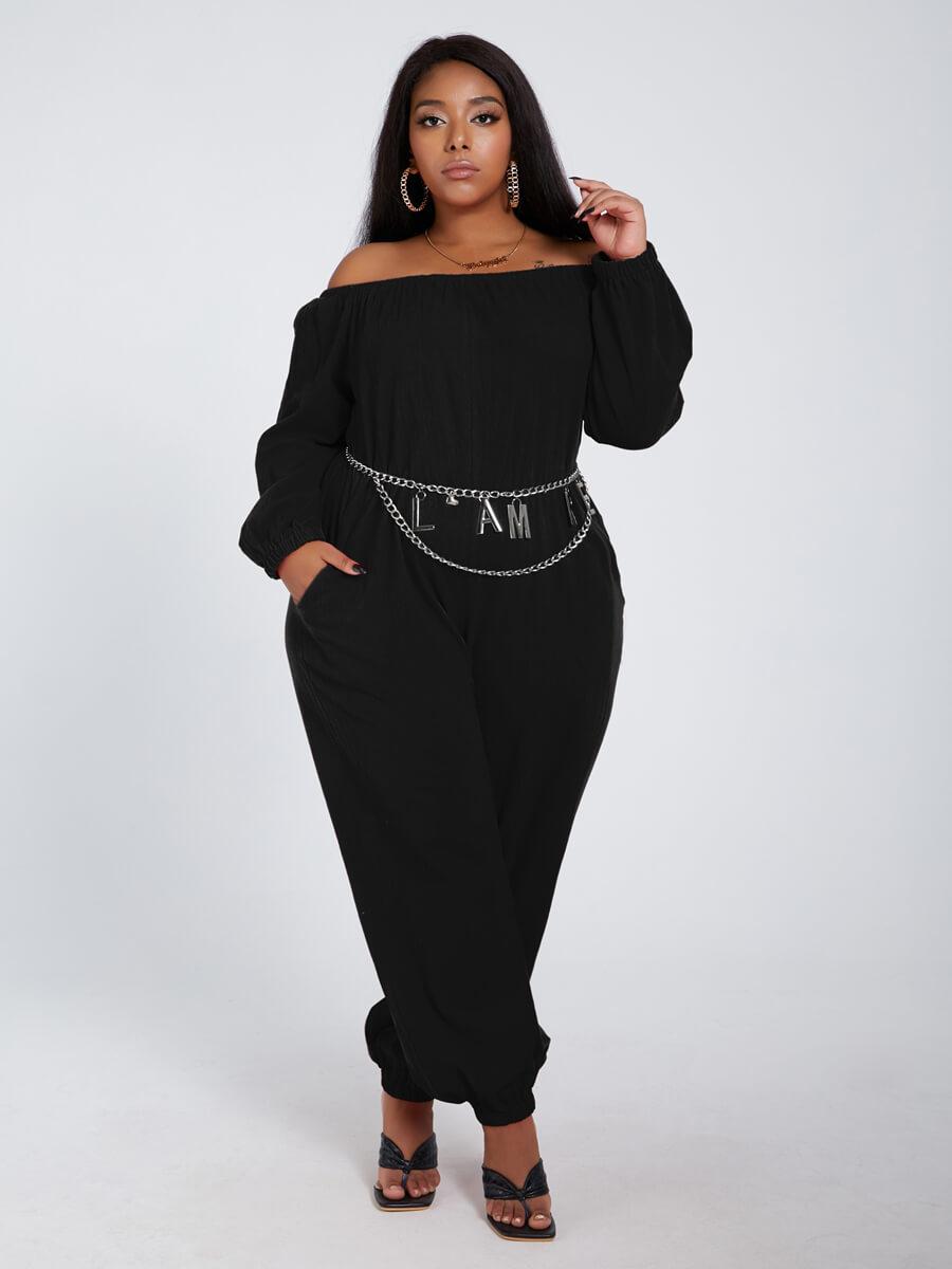 Lovely Leisure Loose Black Plus Size One-piece Jum