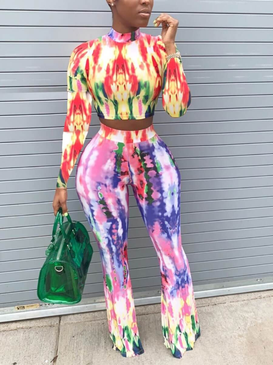 Lovely Casual Tie Dye Crop Top Red Two Piece Pants