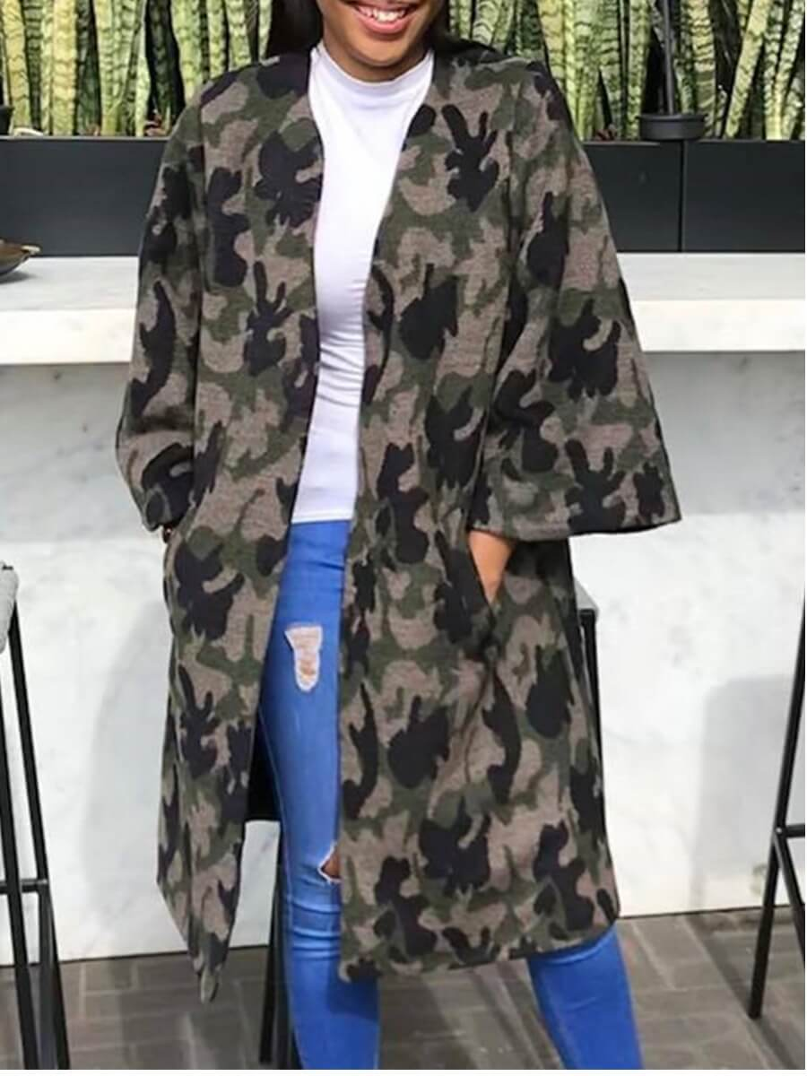 Lovely Casual Camo Print Loose Grey Trench Coat
