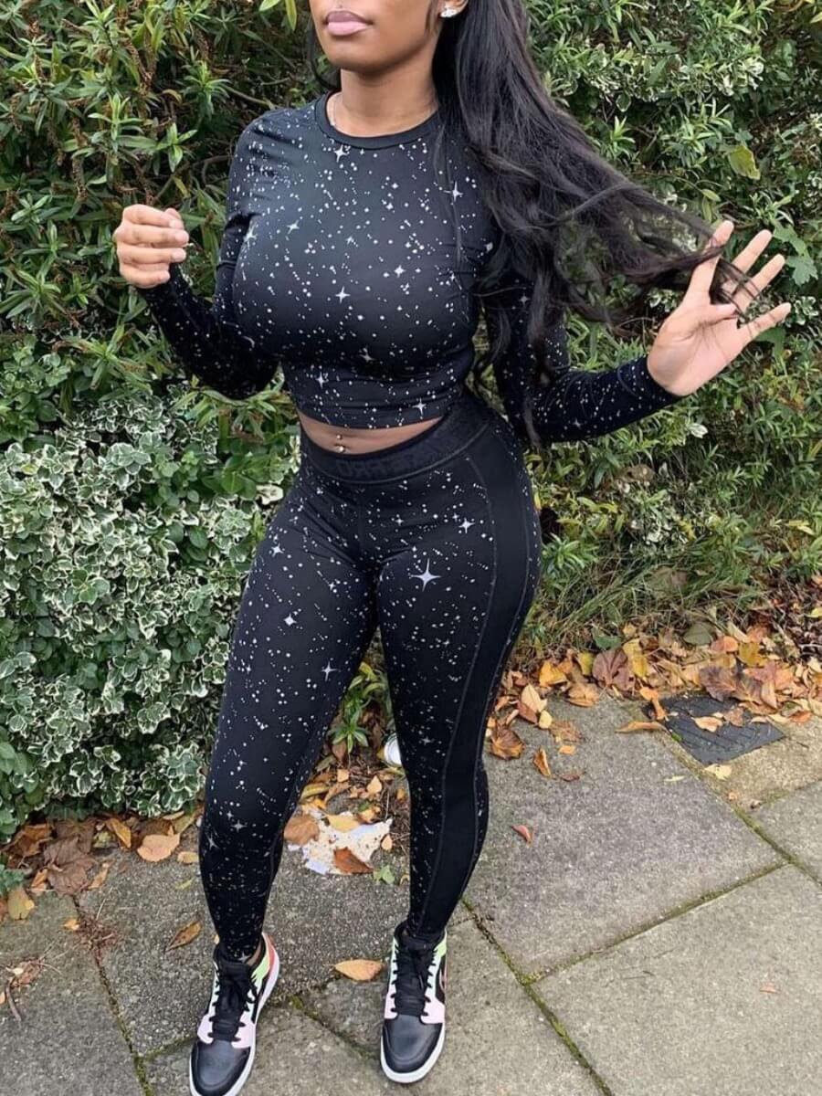 Lovely Sportswear O Neck Star Print Black Two Piec
