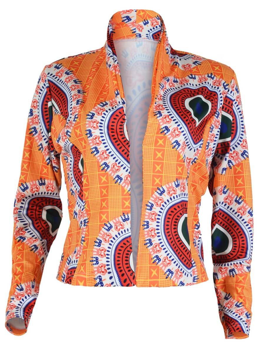 Lovely Ethnic Print Orange Blazer