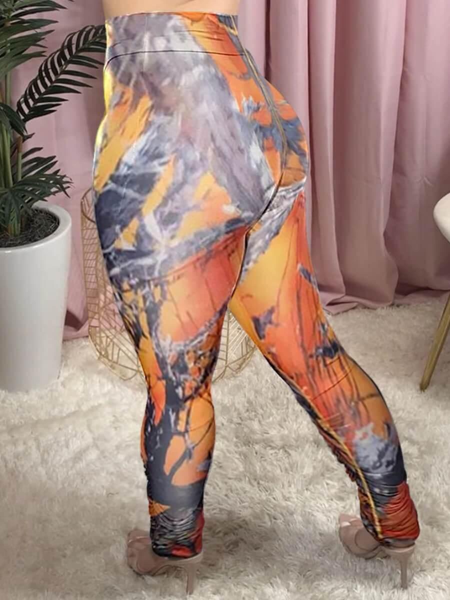 Lovely Casual Mid Elastic Print Skinny Orange Pant