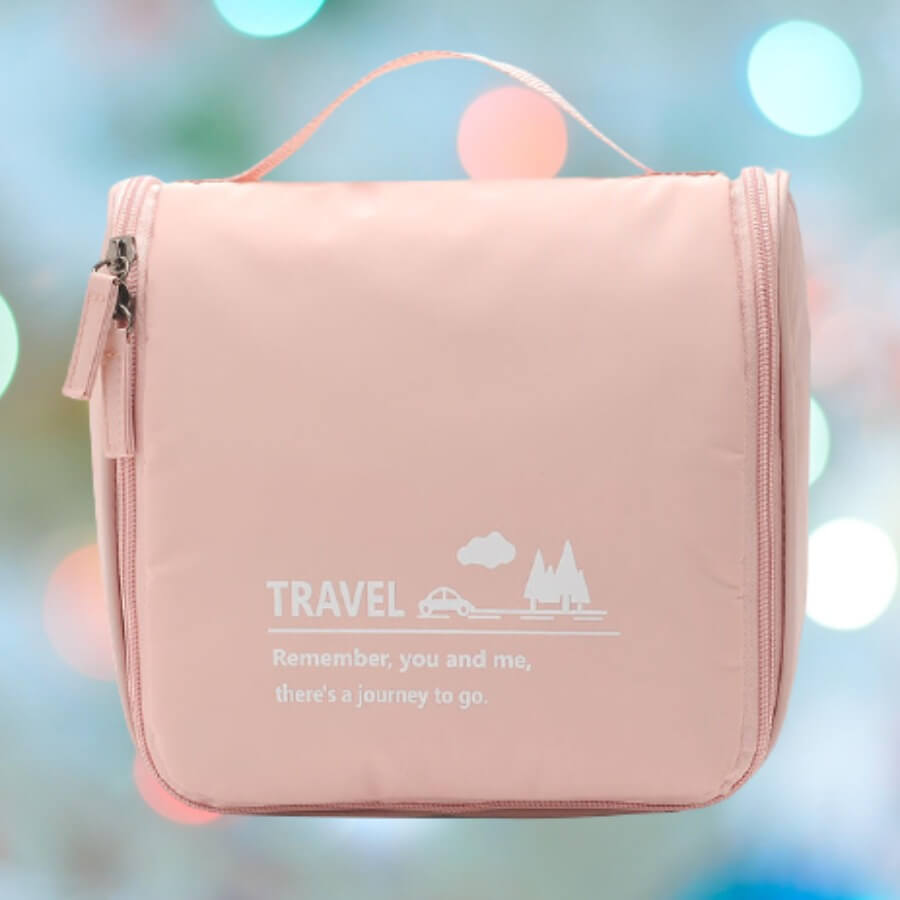 Lovely Stylish Letter See-through Pink Makeup Bag