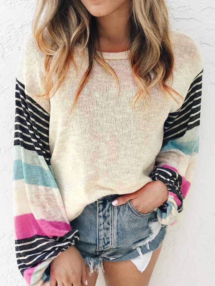 Lovely Casual O Neck Patchwork Apricot Sweater