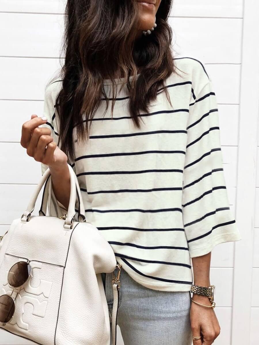 Lovely Street Striped Loose Black T-shirt