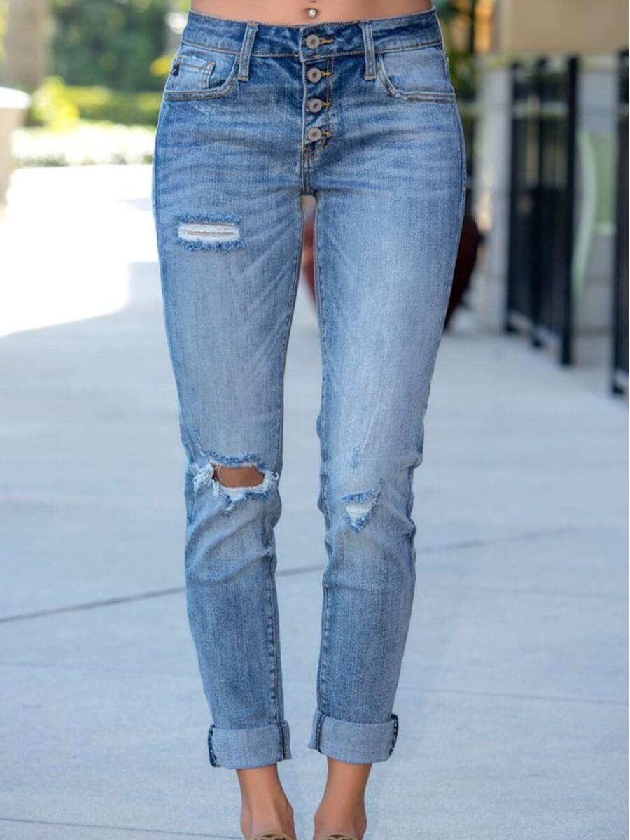 Lovely Casual Broken Holes Skinny Blue Jeans