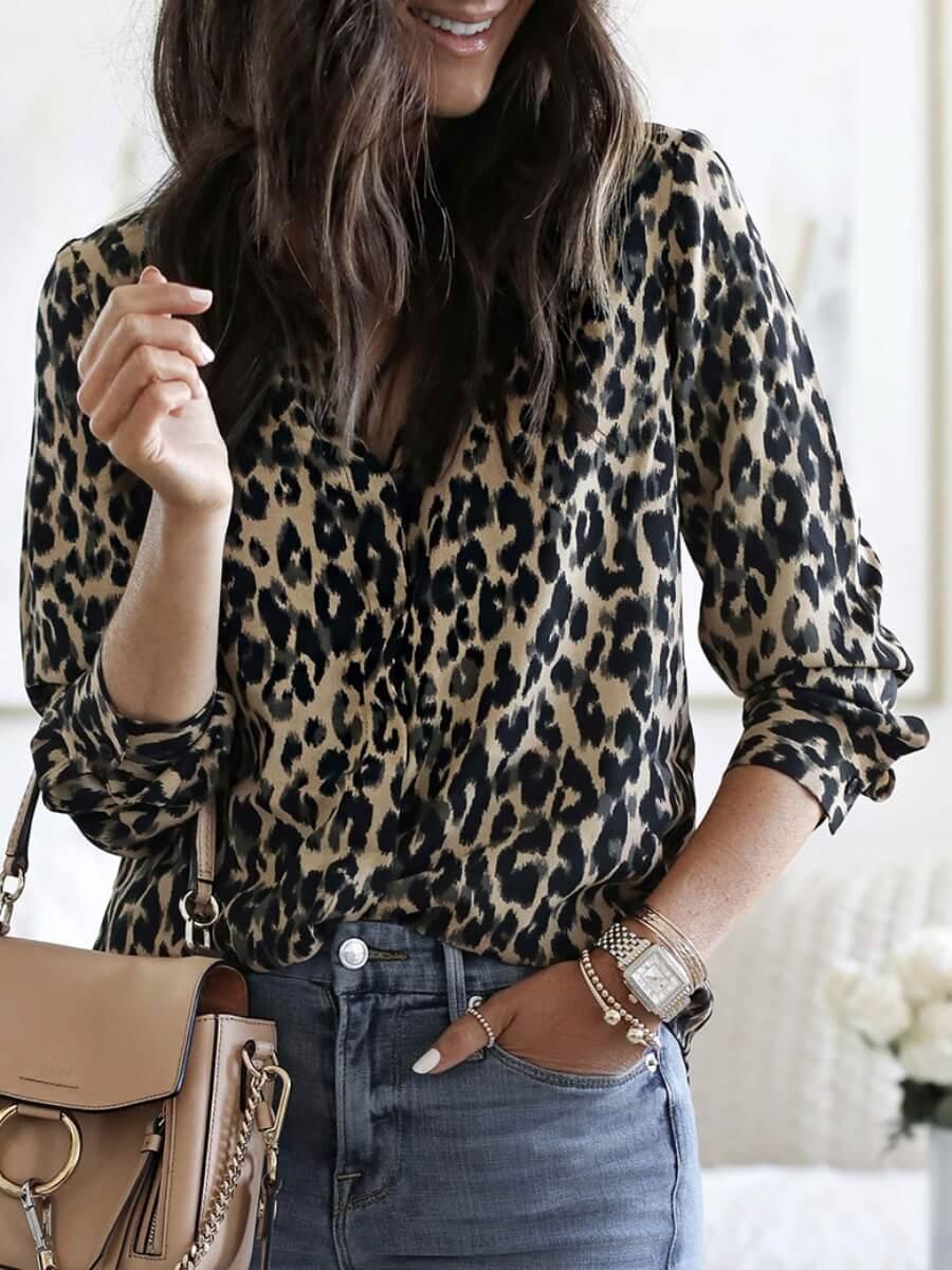 Lovely Trendy Turndown Collar Leopard Print Blouse