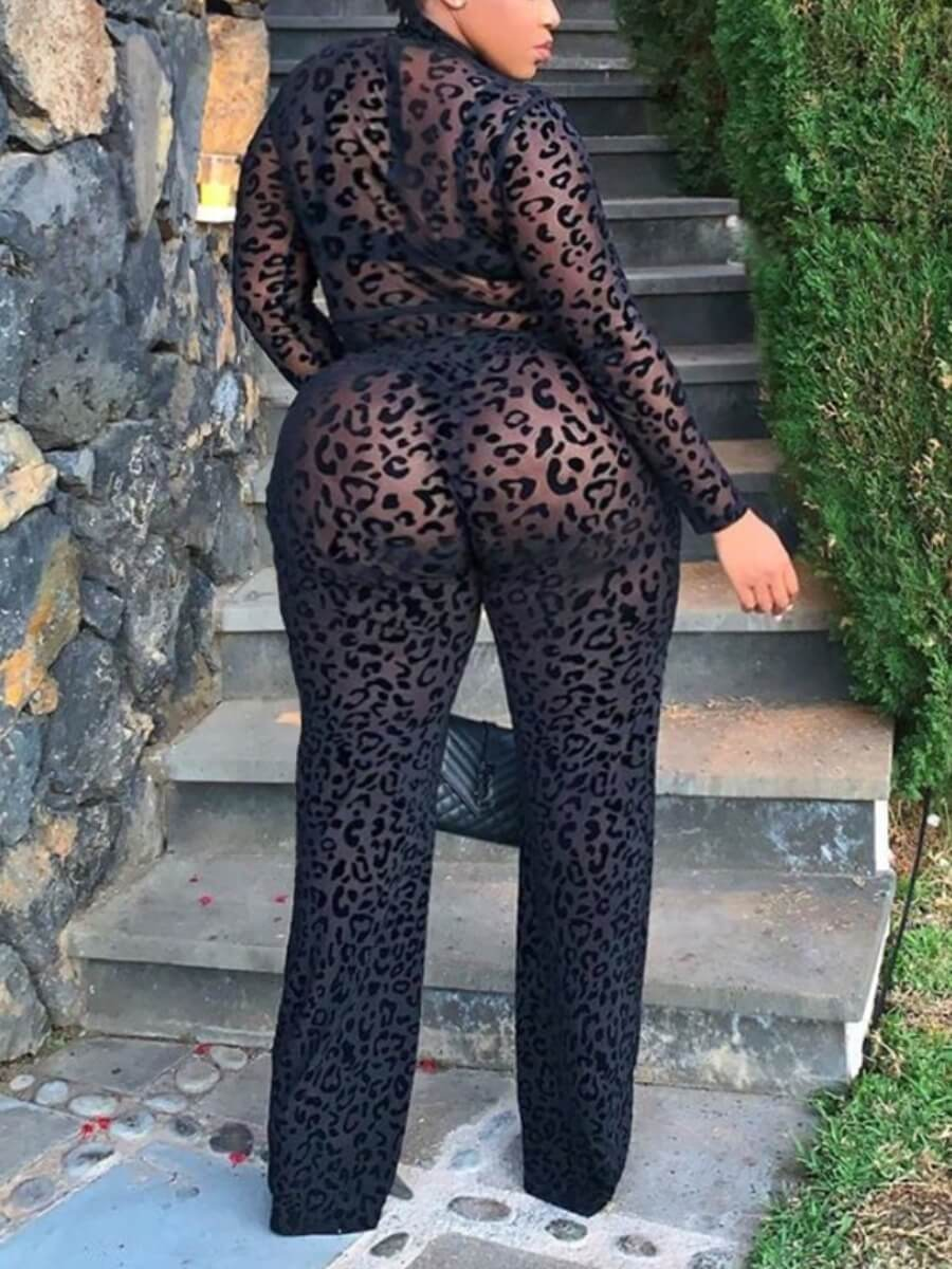 Lovely Trendy Print See-through Black One-piece Ju