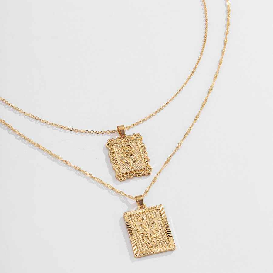Lovely Retro 2-piece Gold Necklace