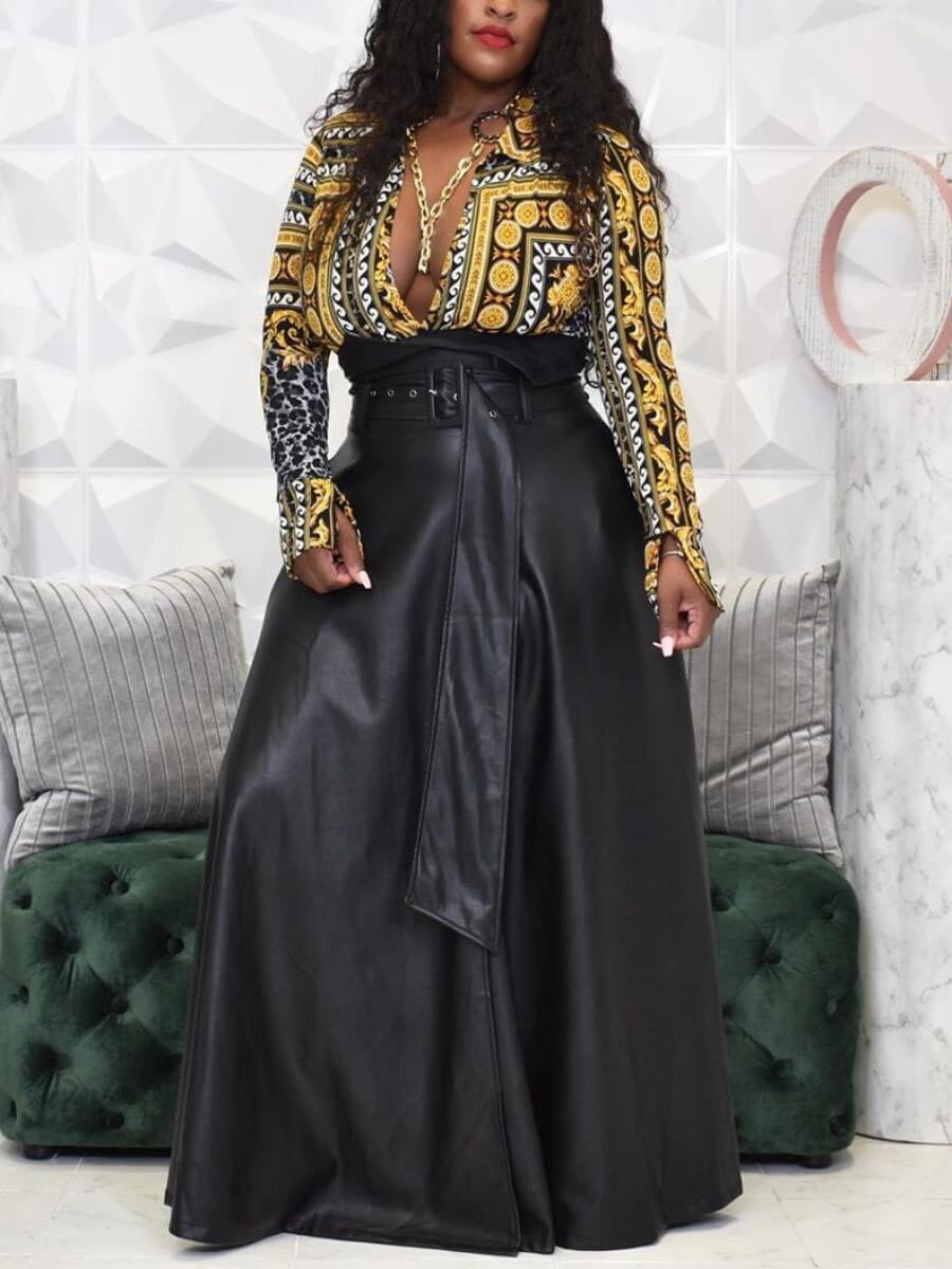 Lovely Formal Belt Design Loose Black Floor Length