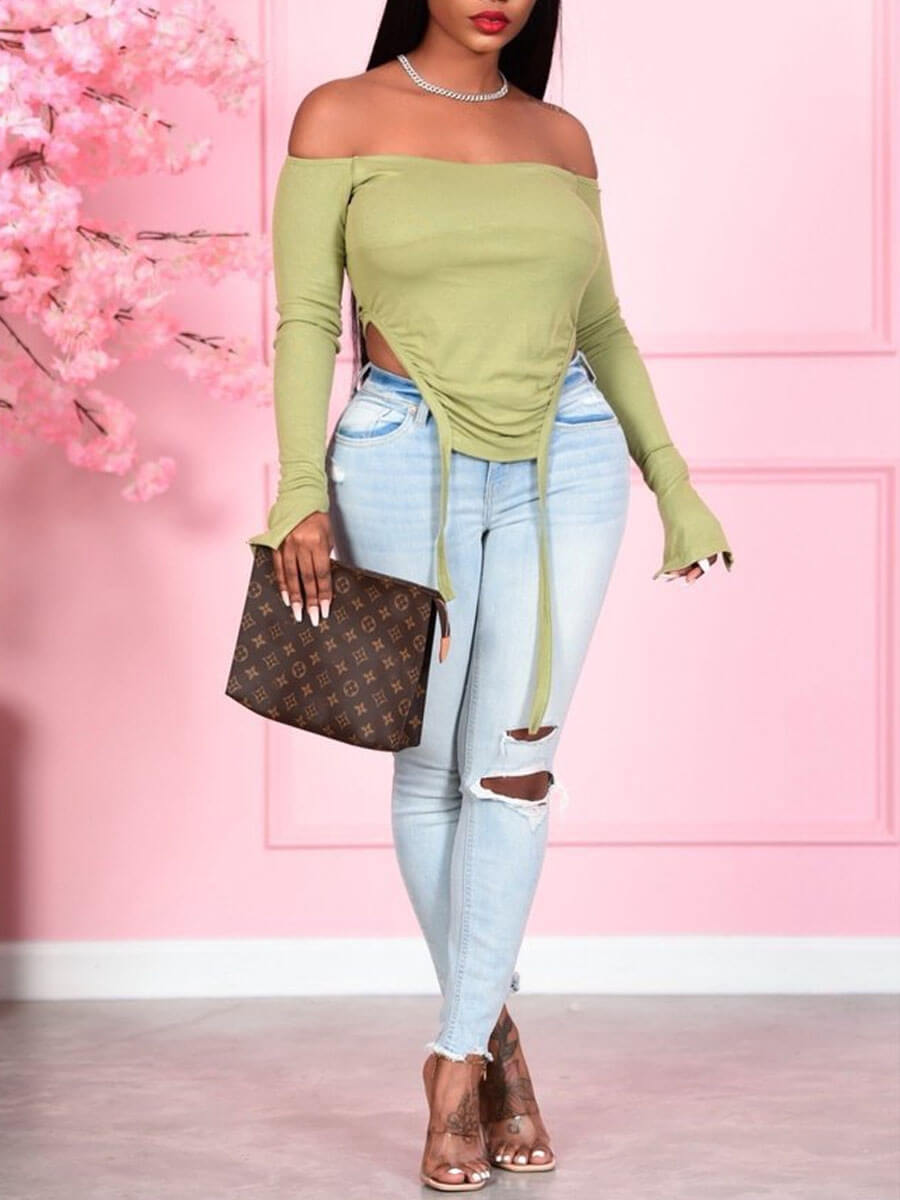 Lovely Street Off The Shoulder Asymmetrical Army G