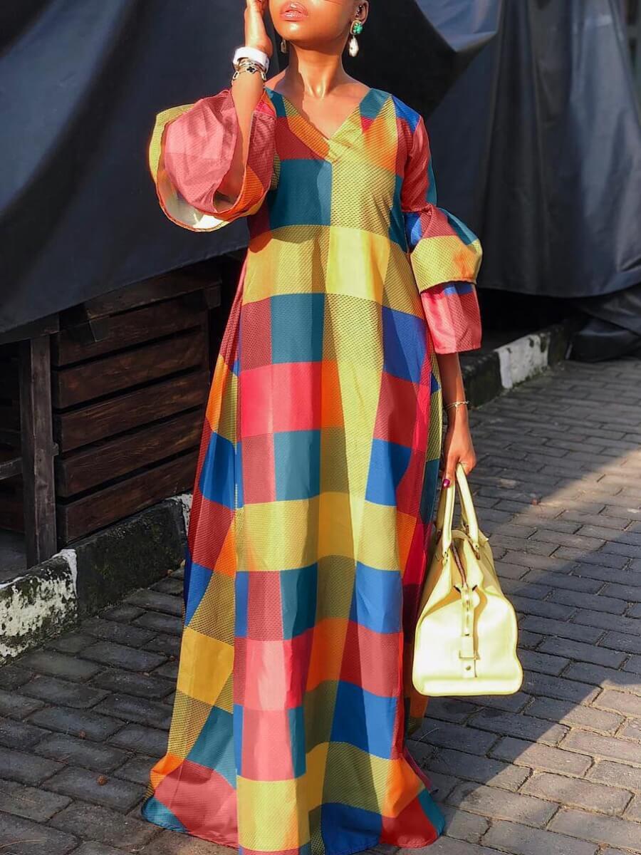 Lovely Casual V Neck Print Patchwork Multicolor Floor Length Dress