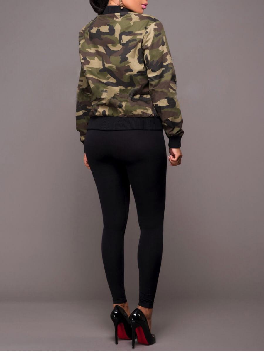 Lovely Stylish Camo Print Zipper Design Jacket