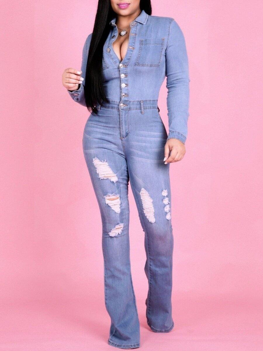 Lovely Trendy Turndown Collar Broken Holes Baby Blue Denim One-piece Jumpsuit
