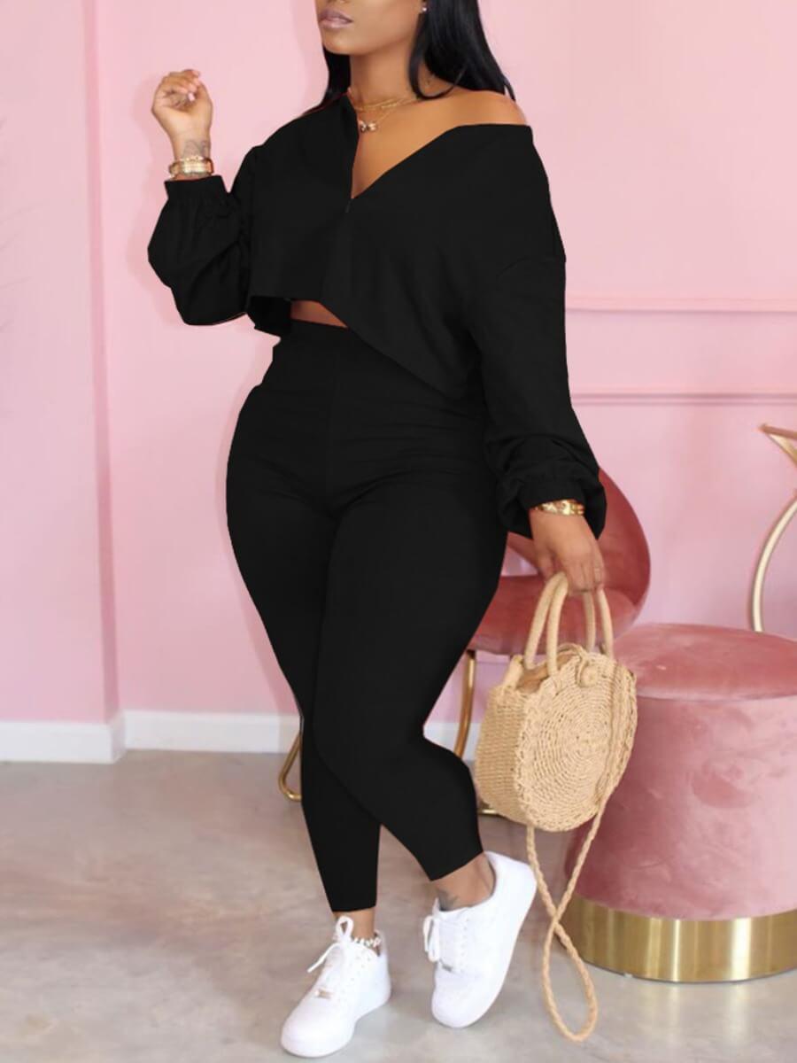 Lovely Trendy Zipper Design Black Plus Size Two-piece Pants Set
