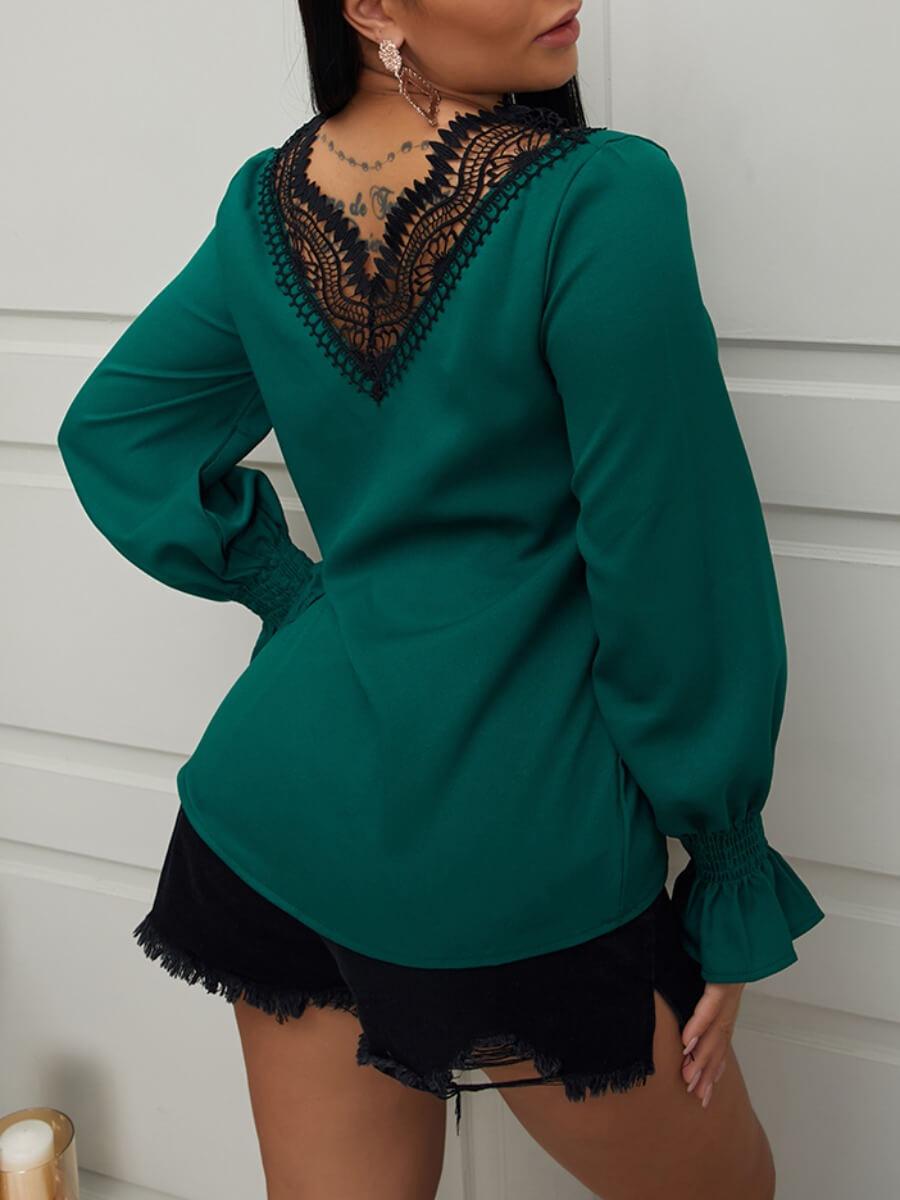 Lovely Trendy V Neck Lace Patchwork Green Blouse