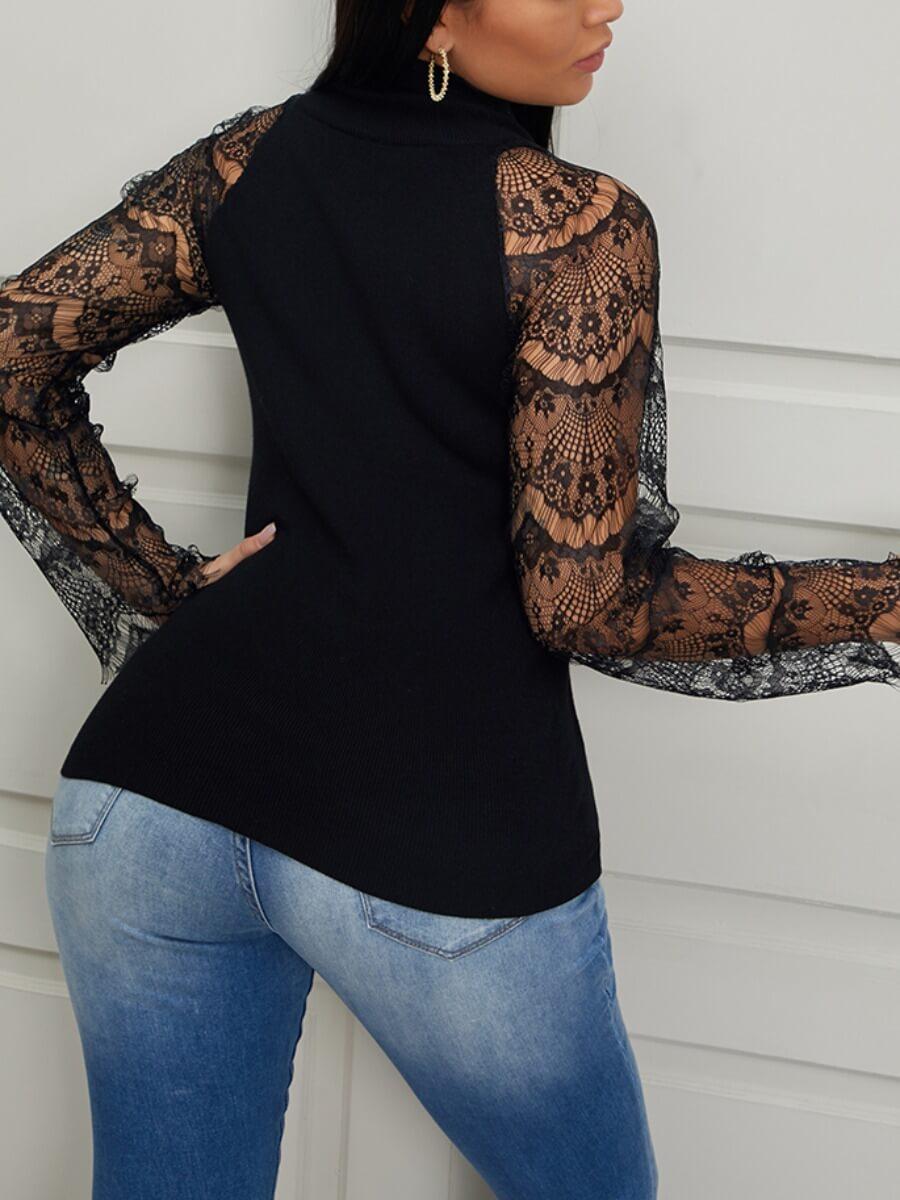 Lovely Trendy Turtleneck Lace Patchwork Black Sweater