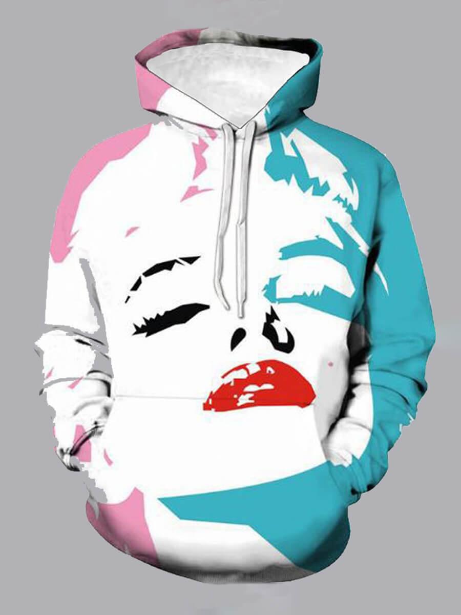 Lovely Street Hooded Collar Print White Boy Hoodie