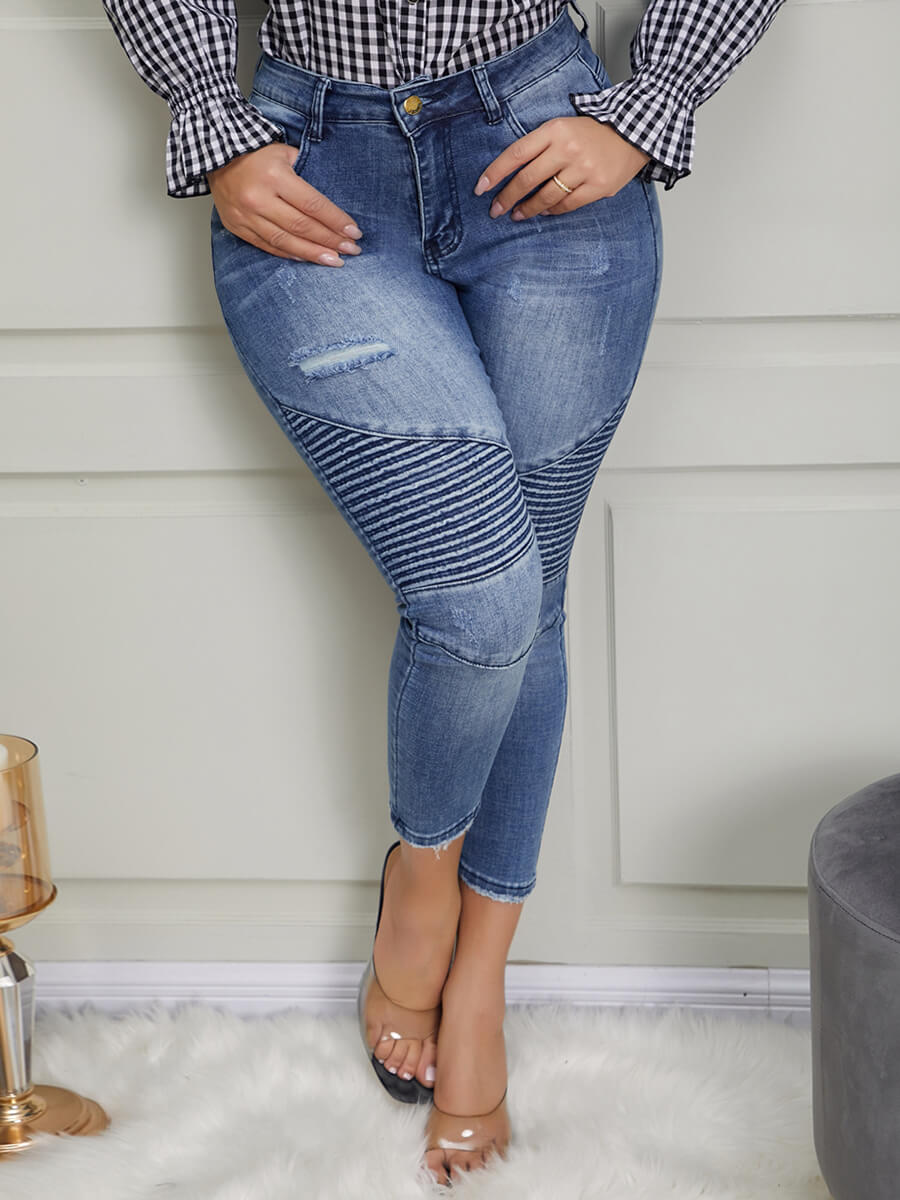Lovely Casual MId Waist Patchwork Blue Jeans
