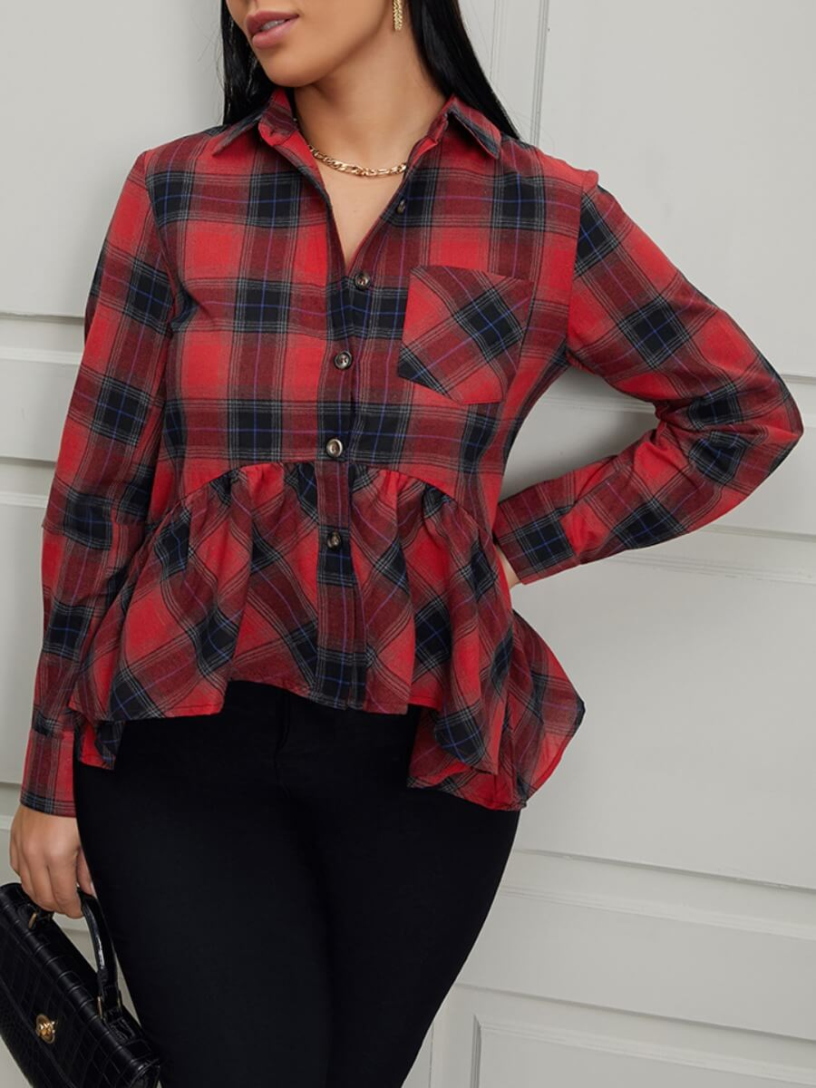 Lovely Casual Plaid Print Red Blouses