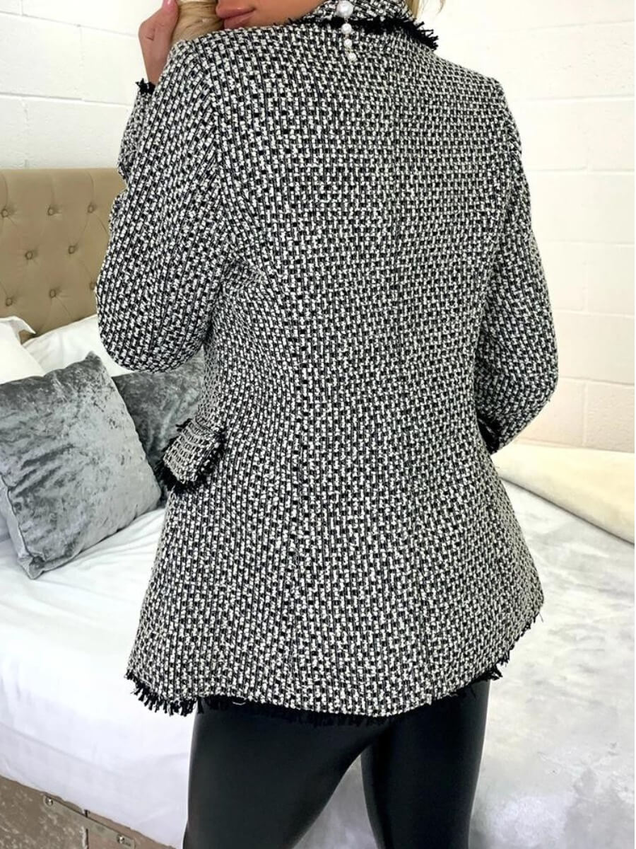 Lovely Stylish Turndown Collar Buttons Design Blac
