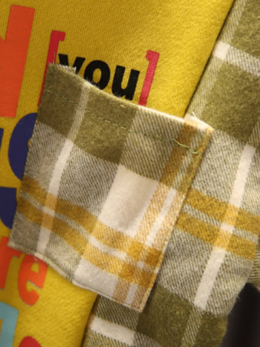 Lovely Street Plaid Letter Print Patchwork Yellow