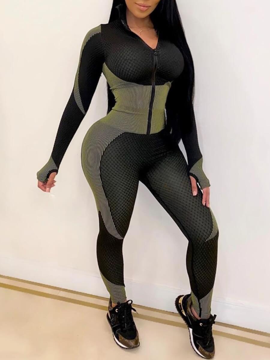 Lovely Sportswear Patchwork Zipper Design Black On