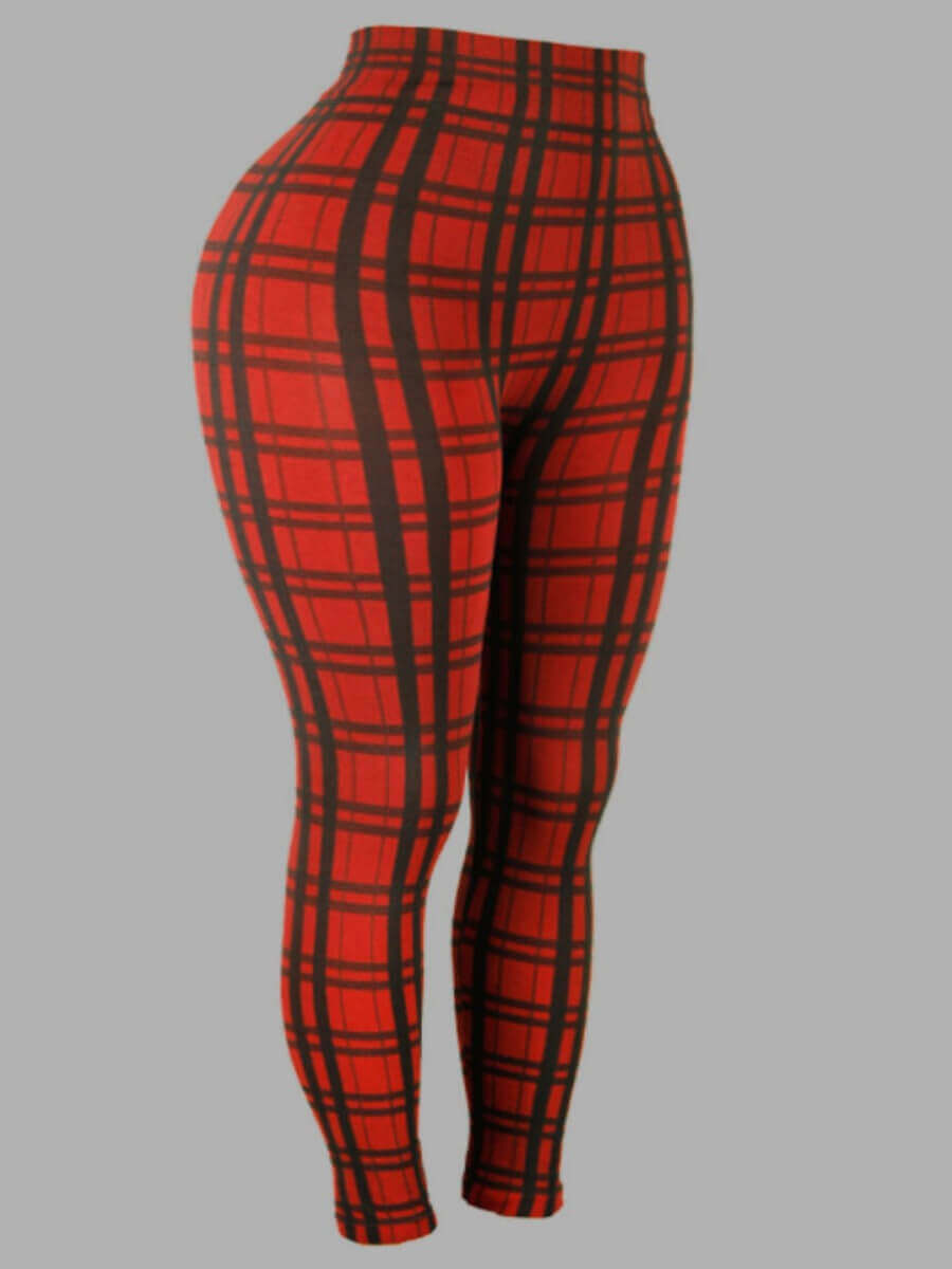 Lovely Street Plaid Print Patchwork Red Plus Size