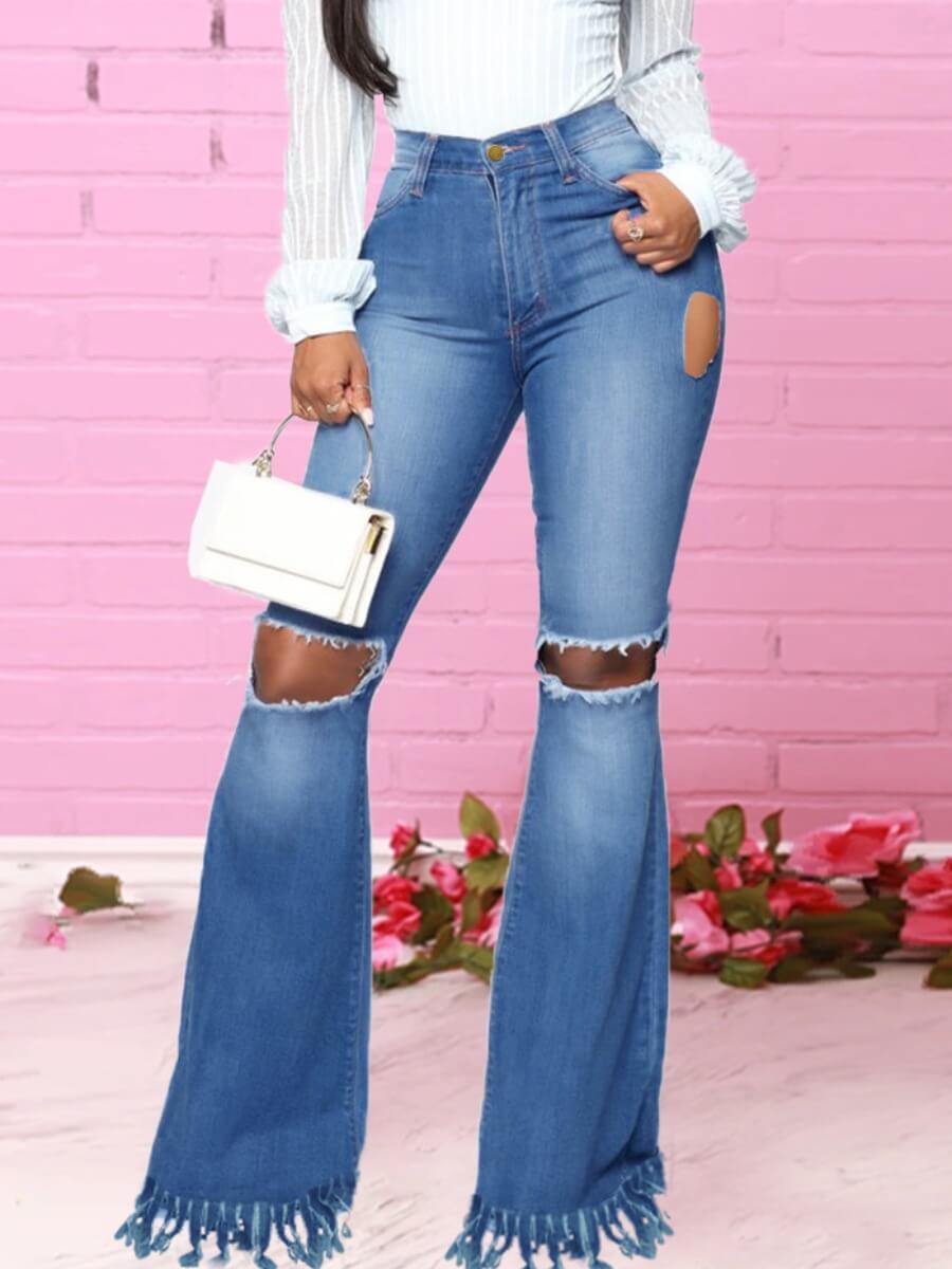 Lovely Street Broken Holes Tassel Design Blue Jean