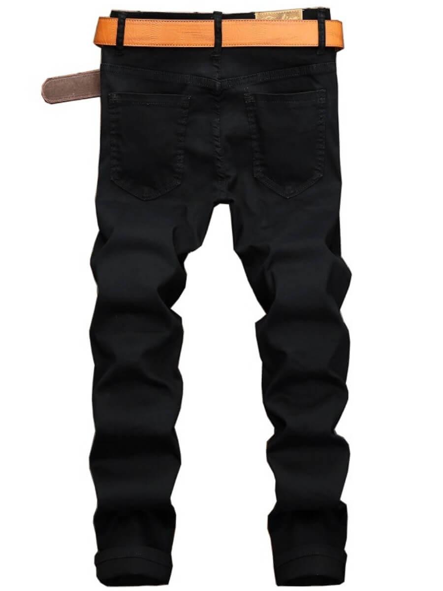 Lovely Men Street Zipper Design Patchwork Black Jeans