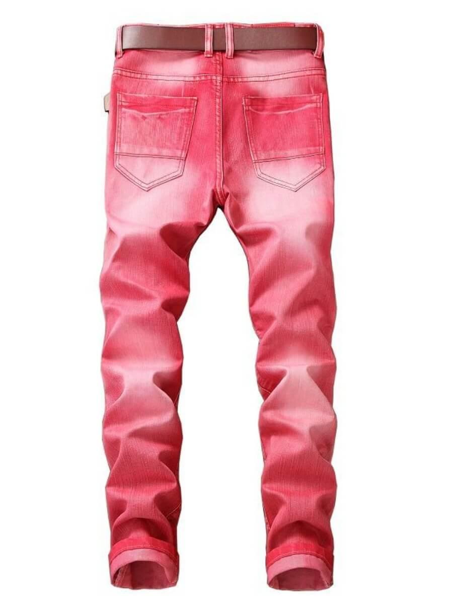Lovely Men Street Gradient Patchwork Red Jeans