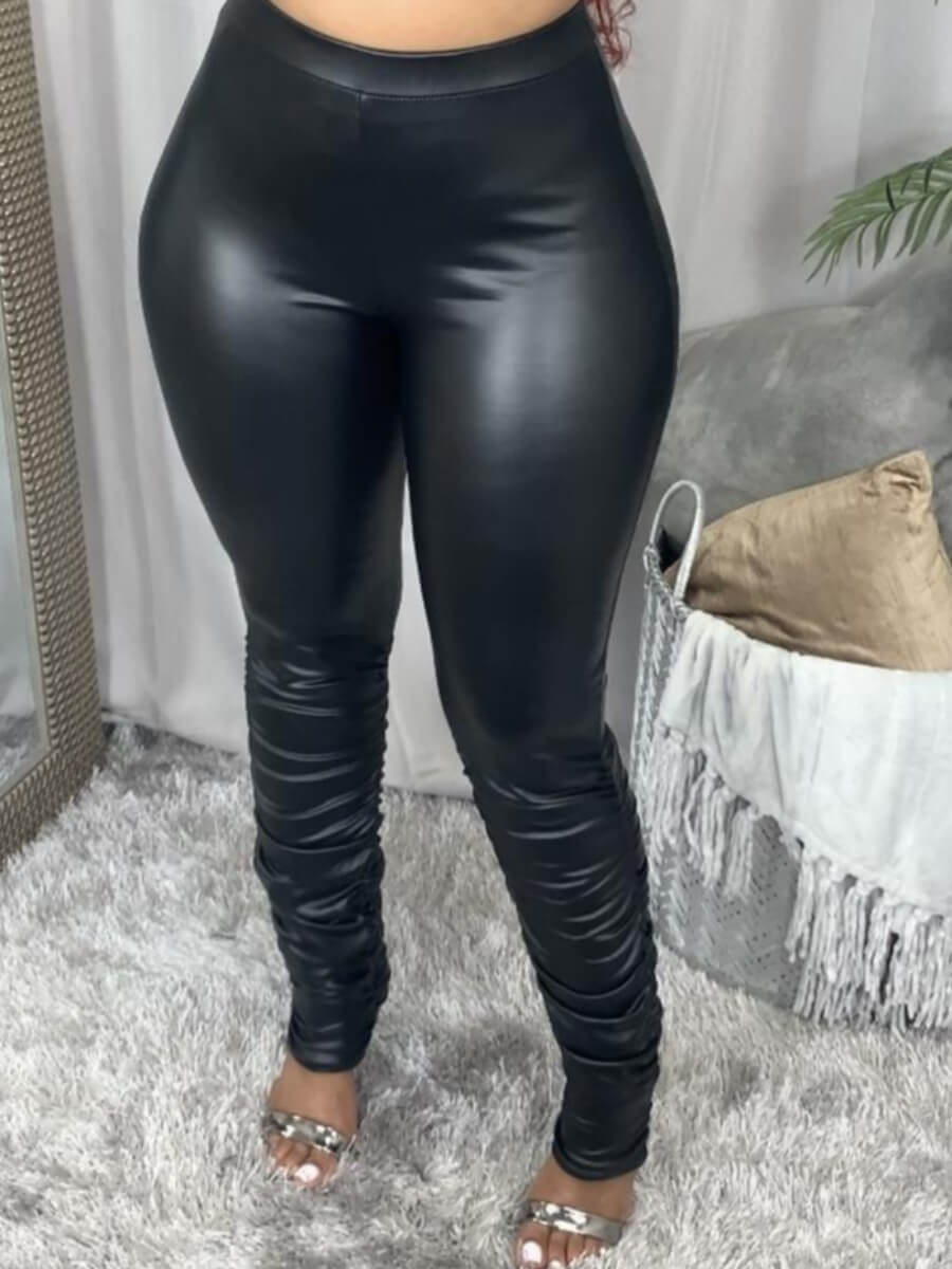 Lovely Street High-waisted Elastic Black Pants
