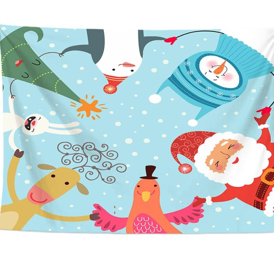 Lovely Christmas Day Cartoon Print Patchwork Multi