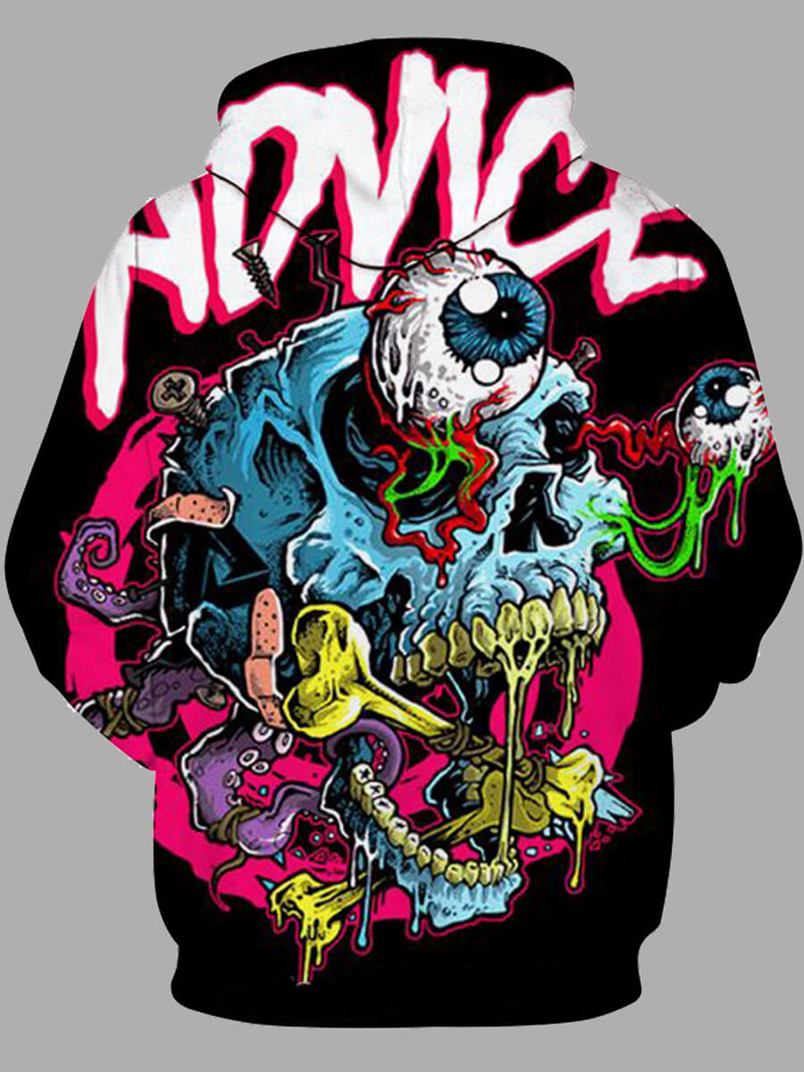 Lovely Men Street Hooded Collar Graffiti Element Multicolor Hoodies