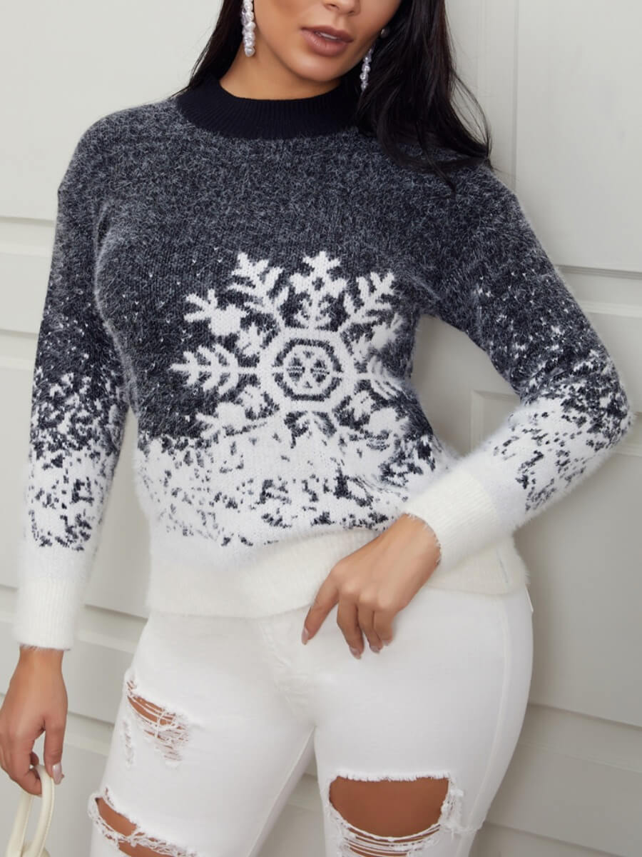 Lovely Sweater Dropped Shoulder Sleeve Snowflakes