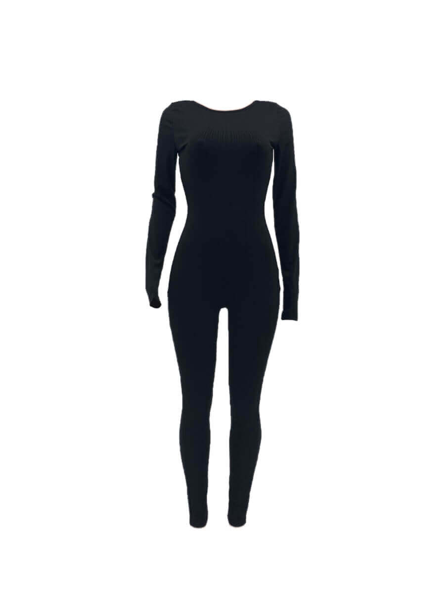 Lovely Casual O Neck Backless Black One-piece Jump