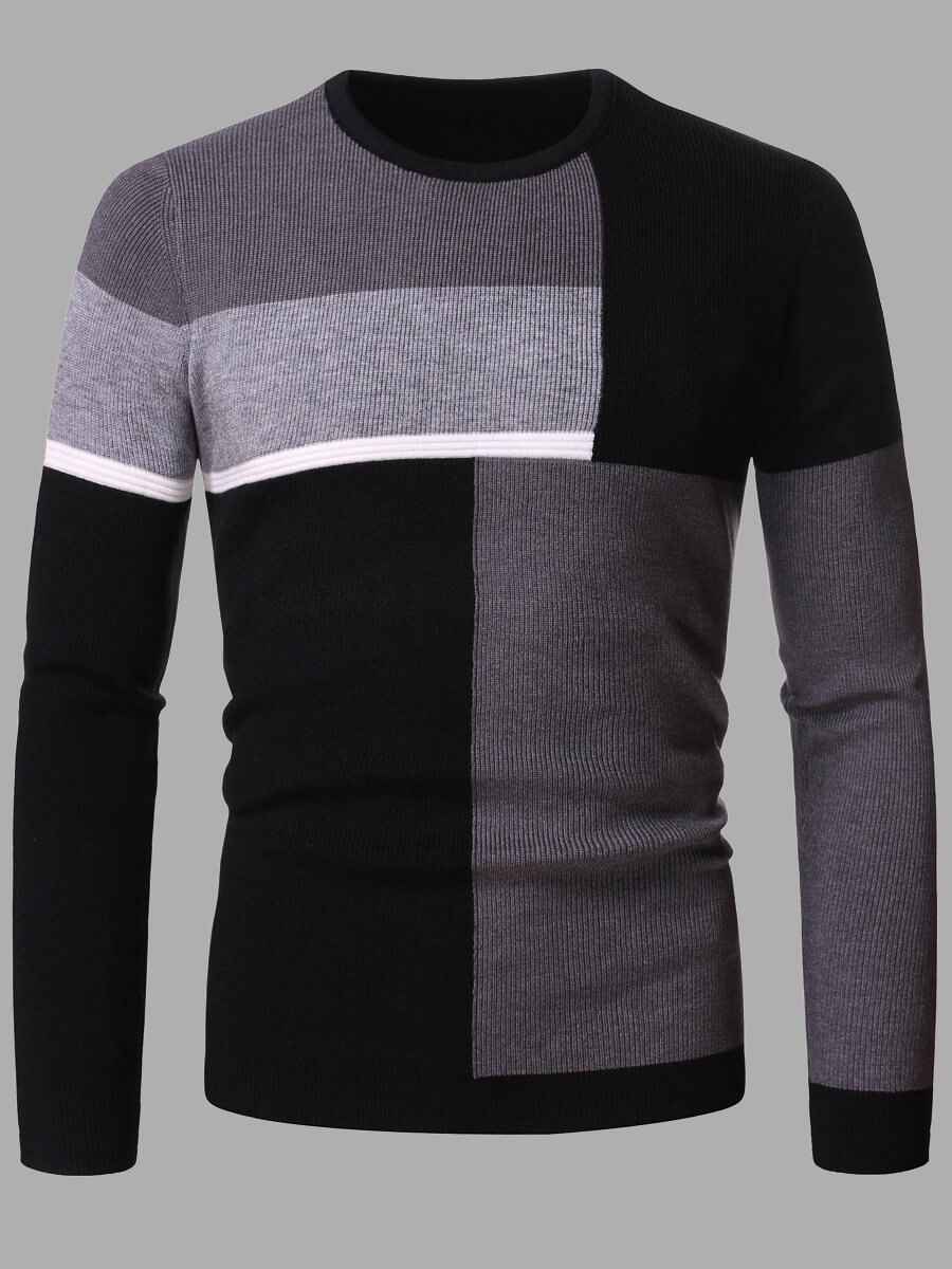 Lovely Casual Color-lump Patchwork Grey Men Sweate