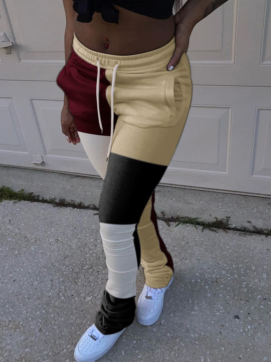 Lovely Casual Elastic Waist Color-lump Patchwork Dull Red Pants