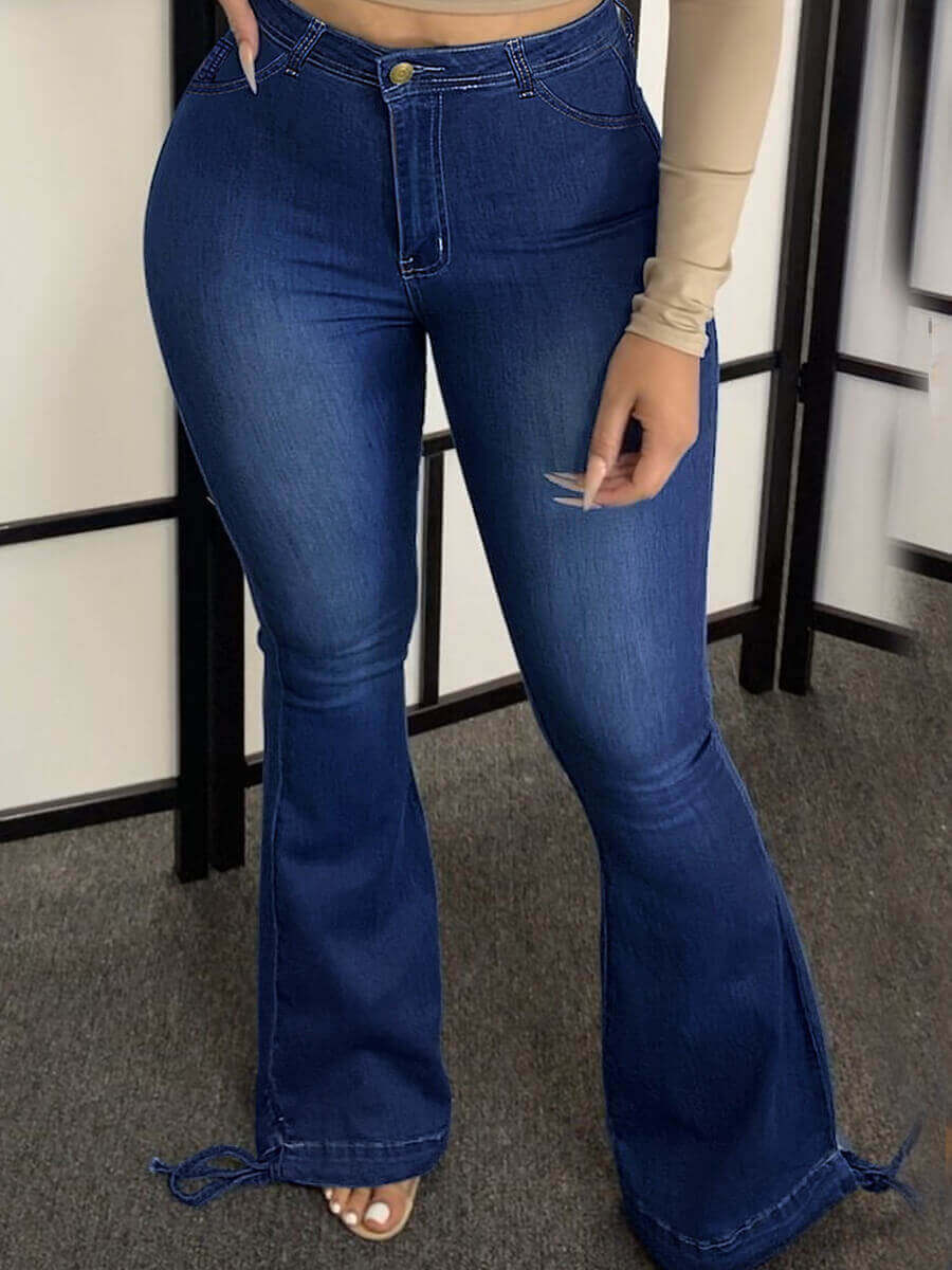 Lovely Casual High-waisted Zipper Design Deep Blue
