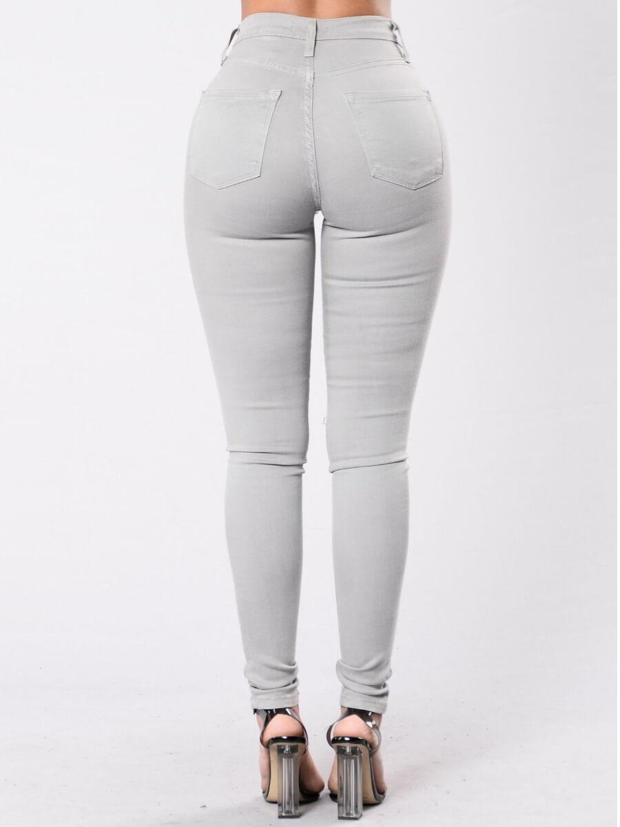 Lovely Casual High-waisted Zipper Design Grey Jean