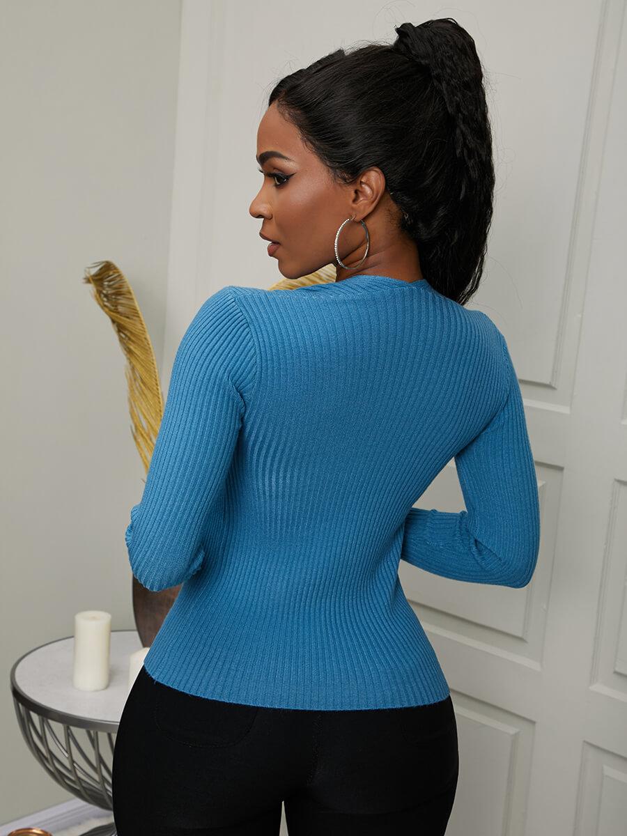 Lovely Sweet U Neck Basic Skinny Blue Sweater