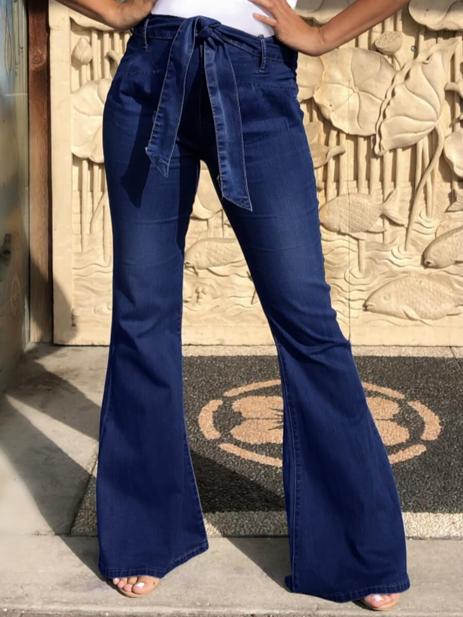 Lovely Street Flared Lace-up Deep Blue Jeans