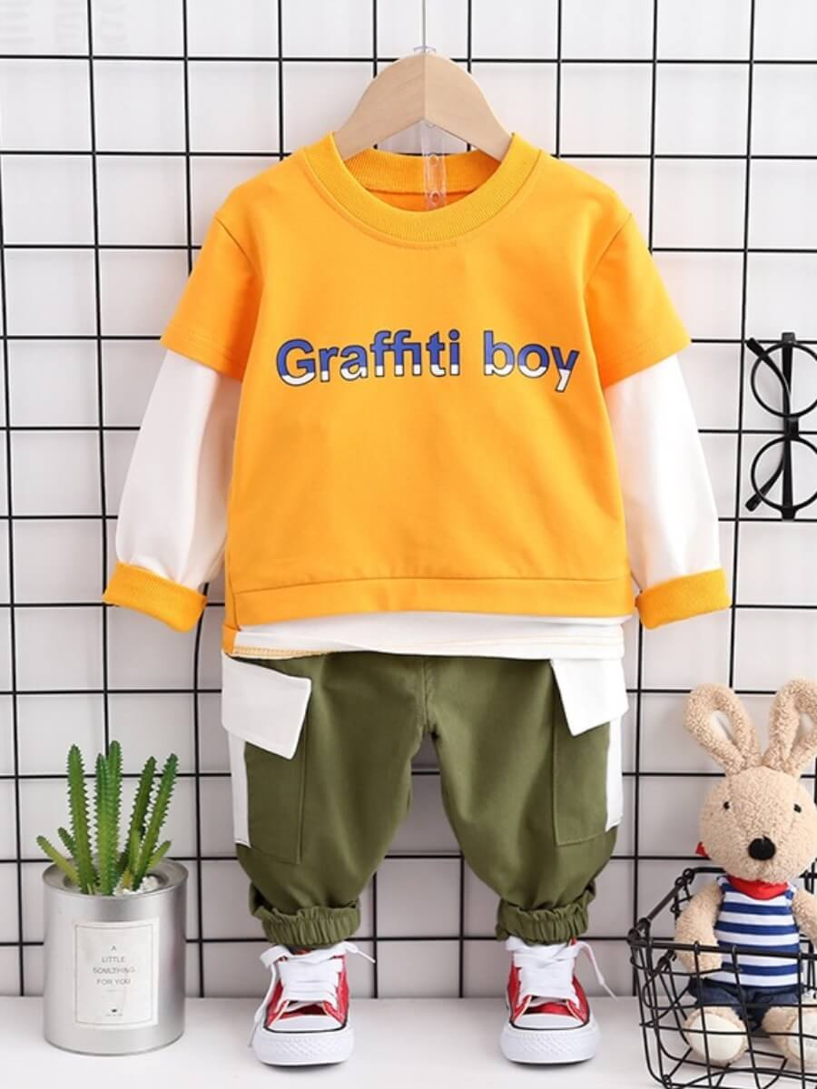 Lovely Casual Letter Print Patchwork Yellow Boy Tw