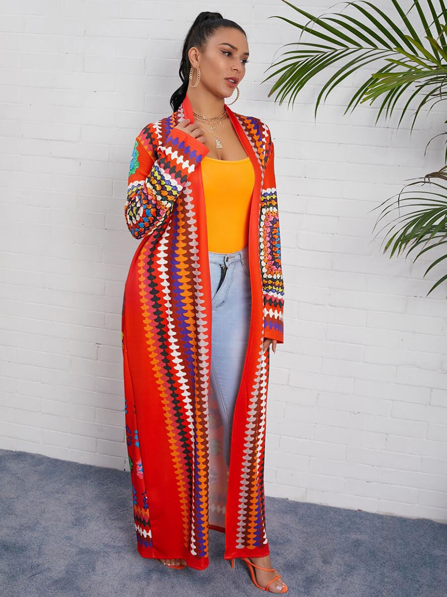 Lovely Bohemian Print Multicolor Long Coat