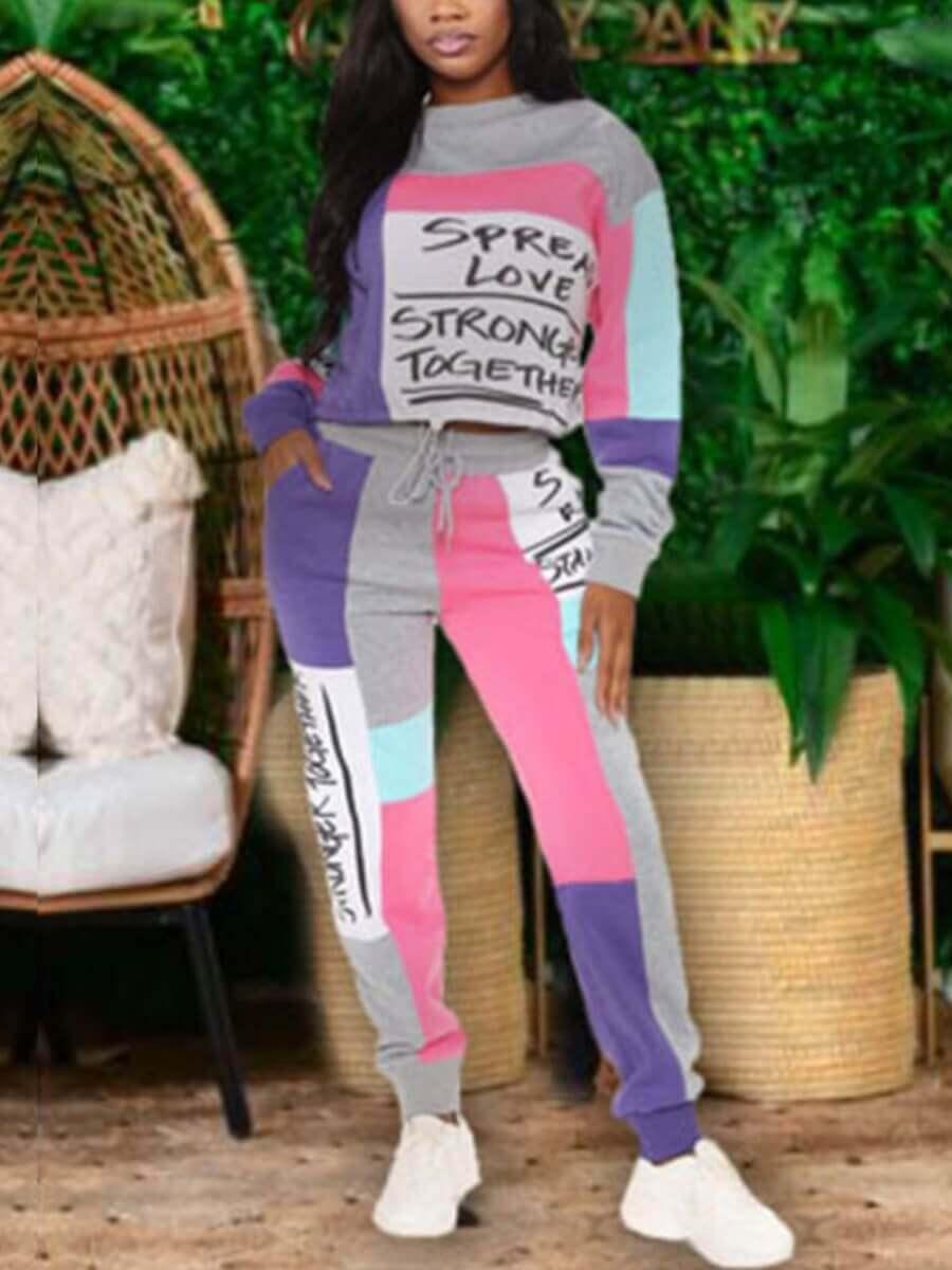 Lovely Sportswear O Neck Color-lump Patchwork Lett
